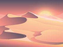 Desert sunset vector landscape with sand dunes. Sunrise in sandy valley illustration Royalty Free Stock Images