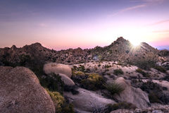 Desert Sunset. Warm desert sunset in the dry heat of California Stock Photo