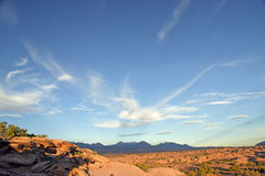 Desert sunset wide angle with mountains Royalty Free Stock Photography