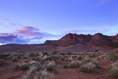 Desert Sunset. Wide angle desert sunset at the scenic red landscape of Fort Pierce, near St George, Utah, USA Royalty Free Stock Images