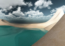 Desert surrounded by the sea Stock Photography