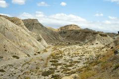 Desert Tabernas. Arid landscape in Spain. Stock Photos