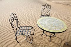 Desert table and chairs Royalty Free Stock Photos