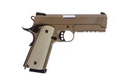 Desert tactical pistol on white background. Military model Stock Image