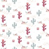 Desert Texas seamless vector pattern with cacti and cow skulls. vector illustration