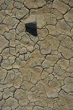 Desert Texture. Cracked earth with a single stone and hard shadow Royalty Free Stock Photos