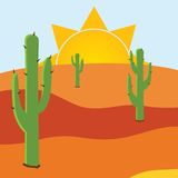 Desert with three caci Royalty Free Stock Images