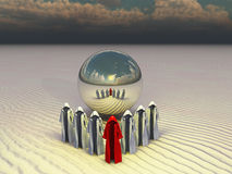 Desert of time. Empty cloaks and metallic sphere royalty free illustration