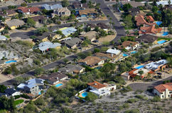 Desert Town with Swimming Pools and Homes Stock Photos