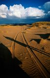 Desert track sunset. Desert track at sunset in Namibia, Africa stock photos