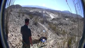 Desert Trail Climb with Dog 3. Wind Caves Borrego Desert California stock video footage