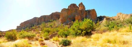 Desert Trail Panorama. In the summer Arizona desert royalty free stock images