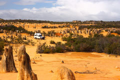 Desert traveler. Car in the pinnacle desert of Australia royalty free stock image
