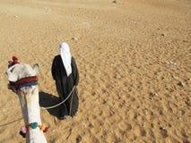 Desert traveler. Man walk and pull his camel in the desert Royalty Free Stock Photo
