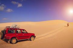 Desert and travelers Yemen, Socotra stock images