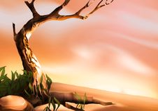 Desert tree. Highly detailed cartoon background 11 - illustration Royalty Free Stock Images