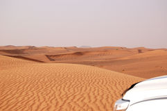 The desert trip in off-road car is major tourists attraction. In Dubai, UAE Stock Image