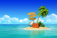 Tropical island with chaise lounge, suitcase, wooden signpost, p. Desert tropical island with palm tree, chaise lounge, suitcase and three empty wooden signpost royalty free stock photos