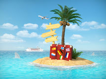 Desert tropical island with palm tree, chaise lounge, suitcase. And three empty wooden signpost. Concept for rest, holidays, resort, travel Royalty Free Stock Image
