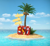 Desert tropical island with palm tree, Stock Photography
