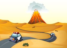 A desert with two patrol cars Stock Photos