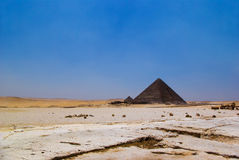 Desert and two pyramid. Pyramid and desert in Giza, Cairo, Egypt - distant view Stock Photography