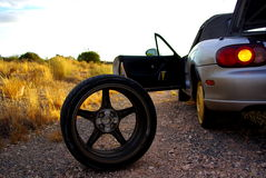 Desert Tyre Blowout. Photograph taken alonside the Sturt Highway near Renmark featuring the punctured tyre of a sportscar (South Australia stock photos