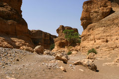 Desert valley. Gorge called Sesriem Canyon in the namibian desert with a dry riverbed royalty free stock photos