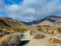 Desert Valley at Anza Borrego in California. A sandy valley running through the desert with cloud shadows over the mountains at Anza Borrego State Park in stock images