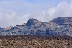Desert valley landscape. Desert valley at foot of the volcano Teide on Tenerife Canary Islands Spain Stock Photos