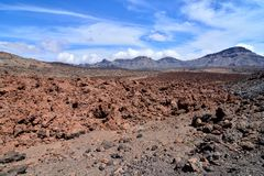 Desert valley landscape. Desert valley at foot of the volcano Teide on Tenerife Canary Islands Spain Royalty Free Stock Photos