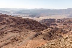 Desert valley  mountains ridge rock cliffs Negev travel Israel. Stock Photo