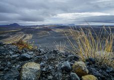 Desert valley near crater of the volcano hverfjall stock photography