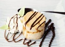 Desert with vanilla cream and ice cream Stock Photo