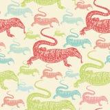 Desert Varan colourful seamless  pattern on beige background Stock Images