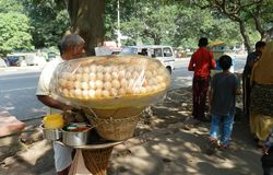 Desert vendor on street in Calcutta Royalty Free Stock Images
