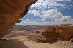 Desert view. Viev into the Ramon Crater from Mt Ardon stock photos