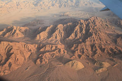 Desert view from the airplane Royalty Free Stock Photography