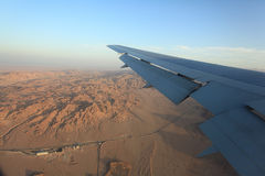 Desert view from the airplane Royalty Free Stock Photo