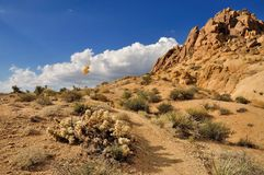 Desert view with cloudy sky in Joshua Tree National Park. Beautiful desert view with cloudy sky in Joshua Tree National Park, California, USA Stock Photo