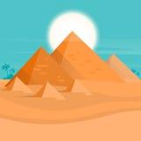 Desert View Egypt Pyramids Sunset Stock Photos
