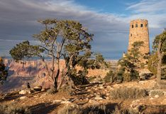 Desert View Watch Tower late afternoon above the Grand Canyon. stock photos