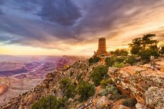Desert View Watchtower on the Grand Canyon Royalty Free Stock Photo