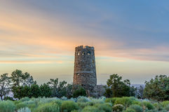 Desert view watchtower in sunset at Grand Canyon Royalty Free Stock Image