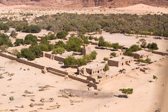 A desert village in Chad in North Africa. Aerial Photograph of a desert village in Chad in North Africa stock image
