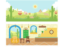 Mexican House and Desert Illustrations Stock Photos