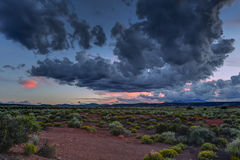 Desert vista at sunset near Flagstaff Arizona. With the San Francisco Peaks in the distant background Stock Photography