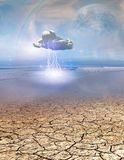 Desert Water with Lightning Cloud. Giant Moon in The Sky Royalty Free Stock Photos