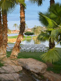 Desert Wedding Scene. Canopy and chairs set up for a wedding on the shore of a desert golf club Royalty Free Stock Photo