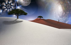 Desert. White desert. Green trees. Figure of man in a distance. Multilayered spaces Royalty Free Stock Image